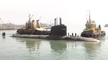 INS Khanderi, scorpene, submarine, second scorpene class, submarine launch, scorpene submarine launch, india news