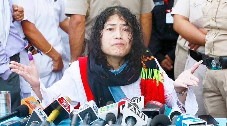 Irom Sharmila holds a press conference after breaking her fast in Imphal, north-eastern Indian state of Manipur, India, Tuesday, Aug. 9, 2016. The 44-year-old activist has been force-fed through a nose tube since November 2000, when she began fasting to protest a draconian security law in the northeastern state of Manipur. Earlier Tuesday, a judge had granted her bail after she assured him that she planned to end her fast. (AP Photo/Anupam Nath)