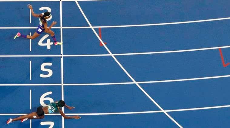 Shaunae Miller, Allyson Felix, photo finish olympics, Shaunae Miller dive finish line, Shaunae Miller bahamas, photo finish athletics, rio 2016 olympics, olympics athletics, olympics, olympics news