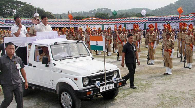 Guwahati: Assam Chief Minister Sarbananda Sonowal inspects the parade during the 70th Independence Day Celebration at Khanapara Veterinary College Playground in Guwahati on Monday. PTI Photo(PTI8_15_2016_000415B) *** Local Caption ***