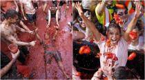 La Tomatina festival: See this Spanish town turn red in mega tomato fight