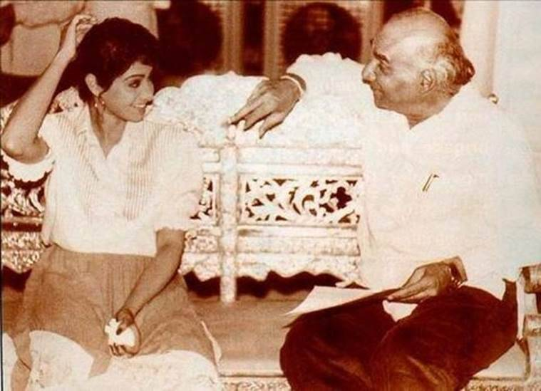 A very old picture of Sridevi with ace filmmaker Yash Chopra. (Source: Twitter)