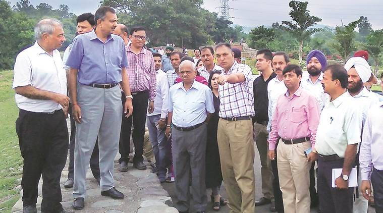 A team led Punjab and Haryana high court justice AK Mittal and Ramendra Jain carried out inspection of Sukhna Lake on Saturday.  Express Photo by Sahil Walia