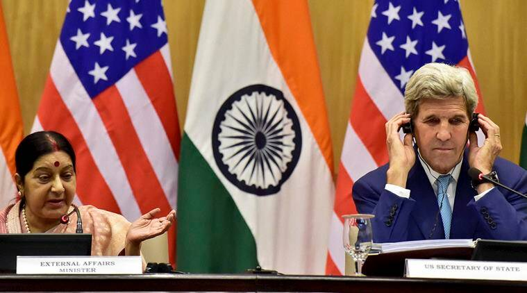 New Delhi : Union Minister for External Affairs Sushma Swaraj and US Secretary of State John Kerry at a joint press conference in New Delhi on Tuesday. PTI Photo by Kamal Kishore(PTI8_30_2016_000286A)
