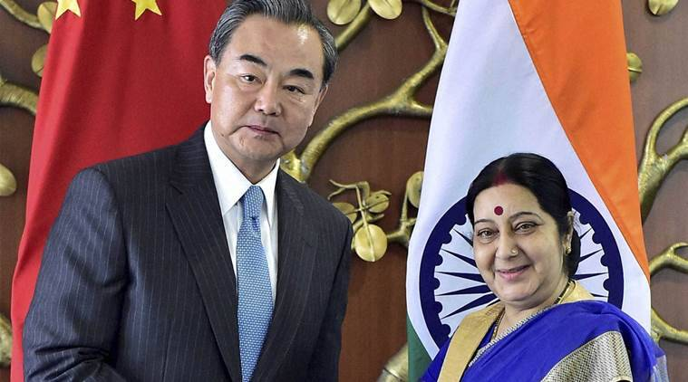 nsg, india nsg bid, sushma swaraj, chinese foreign minsiter wang yi, wang yi india visit, NSG plenary session,Sino-Pak corridor,Masood Azhar in UNSC 1267 Committee, G20 Summit in september, FS-level mechanism, india news, latest news
