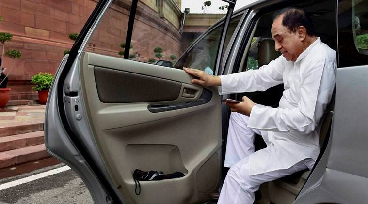 New Delhi:  BJP member Subramanian Swamy arrives at Parliament house during the monsoon session in New Delhi on Thursday. PTI Photo by Kamal Kishore(PTI8_11_2016_000104A)