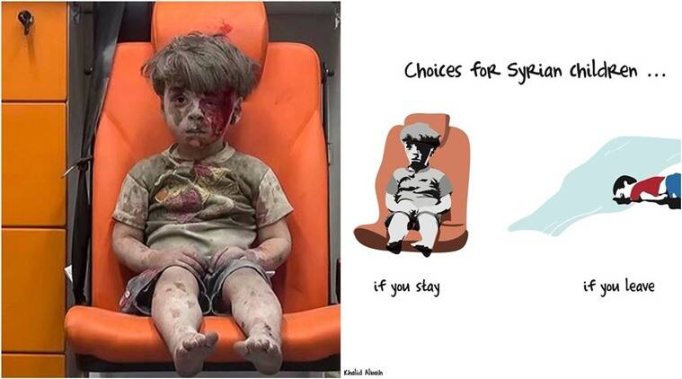 Artist from Doha sketches the reality of the choices for Syrian children. (Source: Twitter, YouTube)