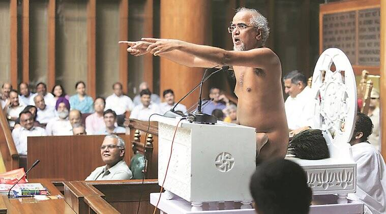 tarun sagar, nude tarun sagar, jain tarun sagar, female foeticide, monsoon session, Tarun Sagar , eradicate female foeticide, haryana female foeticide, Jain religious leader, Haryana Assembly, haryana monsoon session, Education Minister Ram Bilas Sharma, Education Minister, Haryana Chief Minister, Manohar Lal Khattar, haryana governmnet, indian express news, india news, latest news