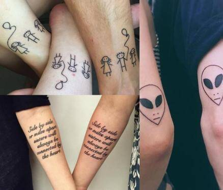 Photos because we are family siblings show their love for Tattoos to express love