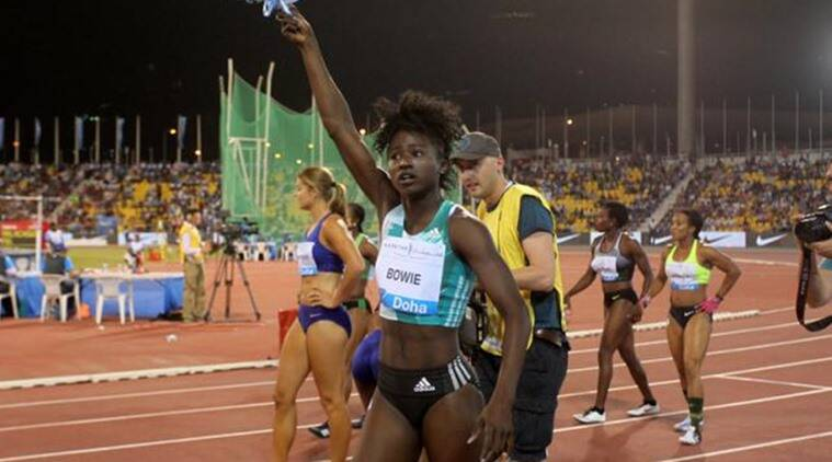 Tori Bowie of U.S celebrates her victory in the 100m women event at the IAAF Diamond League athletics meet, in Doha
