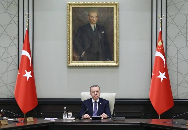 Turkey's President Tayyip Erdogan chairs a cabinet meeting at the Presidential Palace in Ankara, Turkey, August 15, 2016. Yasin Bulbul/Presidential Palace/Handout via REUTERS ATTENTION EDITORS - THIS PICTURE WAS PROVIDED BY A THIRD PARTY. FOR EDITORIAL USE ONLY. NO RESALES. NO ARCHIVE.