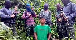 Tinsukia: A video footage leaked on media showing Kuldeep Moran, son of Tinsukia Zila Parishad Vice President Ratnaswar Moran in the custody of ULFA(I) militants. Kuldeep was abducted on August 1, 2016 by the suspected organization for Rs 1 Cr ransom. PTI Photo (PTI8_22_2016_000205B)