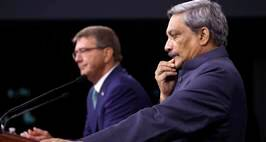 Defense Secretary Ash Carter and Indian Defense Minister Manohar Parrikar participate n a joint a news conference at the Pentagon, Monday, Aug. 29, 2016. (AP Photo/Jacquelyn Martin)