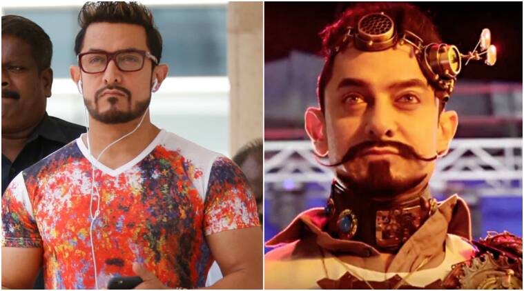 Aamir Khan, Aamir Khan new look, Aamir Khan secret superstar, Aamir Khan next, Aamir Khan mustache look, Aamir Khan new look from secret superstar, aamir khan bhuvan, aamir khan lagaan, aamir khandubai, aamir khan bollywood theme park dubai, aamir khan theme park ride, aamir khan lagaan ride, aamir khan lagaan ride dubai, Entertainment, indian express, indian express news