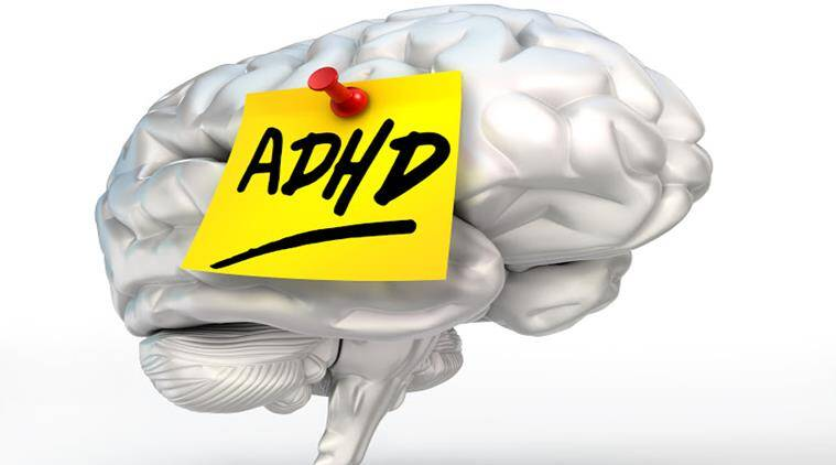 adhd yellow note on brain conceptual image,