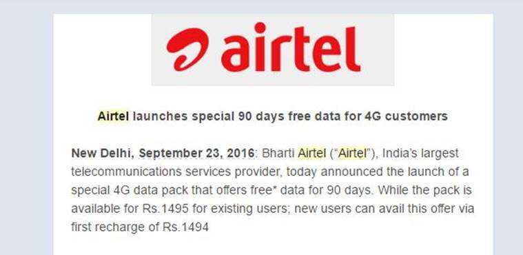 Airtel 4G, Airtel 4G plans, Airtel prepaid, Airtel new offers, Airtel free 4G, airtel 30GB 4G, airtel FUP, 4G FUP delhi, airtel 4G offers, Airtel unlimited 4G, unlimited 4G india, Airtel free data for 90 days, airtel Rs 1495 offer, 4G data pack, airtel india, india, reliance jio, jio 4g, technology news, indian express