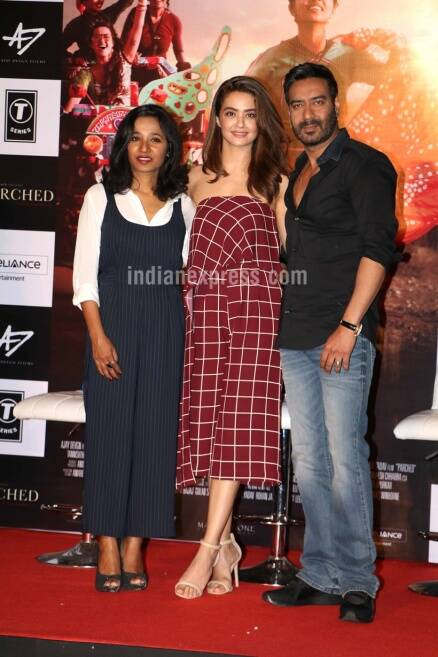 Ajay Devgn, parched, parched trailer, Ajay Devgn parched, radhika apte, radhika apte parched, parched trailer launch, surveen chawla, Tannishtha Chatterjee, Entertainment, indian express, indian express news