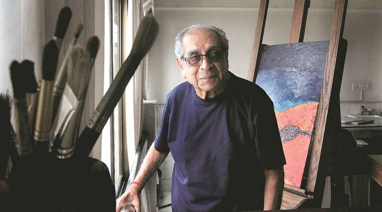 Akbar Padamsee, Akbar Padamsee work, Akbar Padamsee paintings, Akbar Padamsee works auction, greek landscape, greek landscape auction, indian contemporary artists, indian contemporary painters, art and culture news, latest news, india news, indian express
