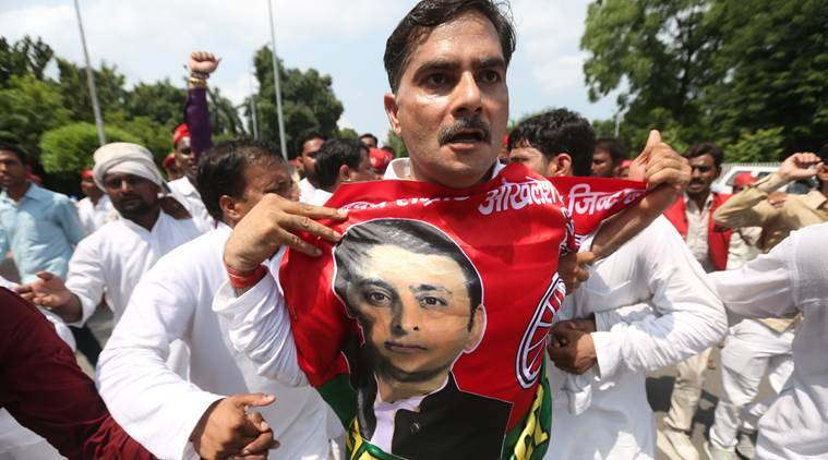 Samajwadi Party workers and Akhileash Yadav supporters hold a protest aginst party's supreemo Mulayam Singh Yadav in front of Chief Minister house in Lucknow on saturday,protestors are demanding they want Akhilesh Yadav as state president and they do work under Akhilesh not under newly appointed party's state president Shivpal Singh Yadav.Express photo by Vishal Srivastav 17.09.2016