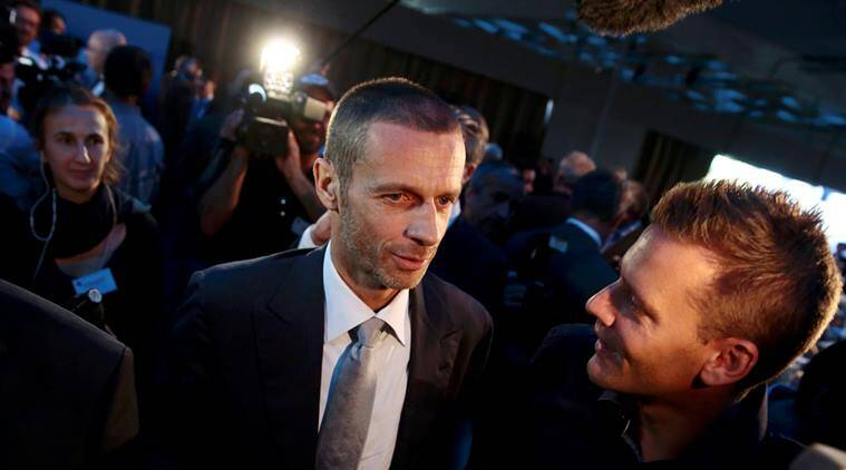 Newly elected UEFA President Aleksander Ceferin of Slovenia is congratulated after the election during the UEFA Extraordinary Congress in Athens. (Source: Reuters)
