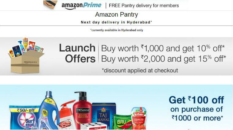 Amazon, Amazon india, amazon pantry, amazon hyderabad, amazon grocery, buy grocery online, grocery shopping basket, pantry box, amazon pantry box, technology news, indian express