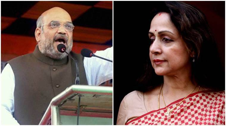 amit shah, hema malini, amit shah hema malini, bjp, bjp uttar pradesh, up elections, up elections 2017, amit shah addresses rally in mathura, deen dayal upadhyay birth centenary, hema malini addresses raly mathura, deen dayal upadhyay centenary mathura, indian express, india news