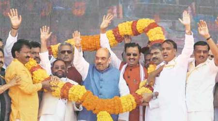 In UP, Amit Shah lists BSP 'scams', takes potshots at Yadav family feud