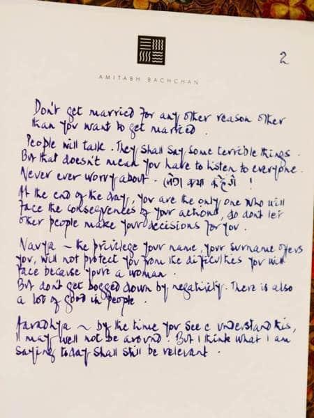 Amitabh Bachchan letter