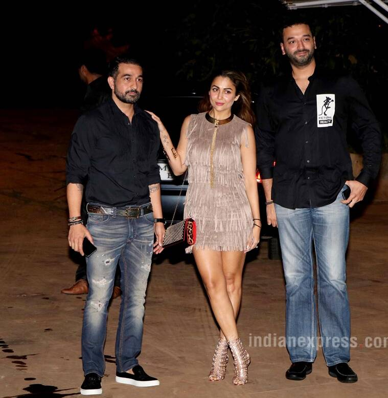 Amrita Arora in a suede-fringe dress. (Source: Varinder Chawla)