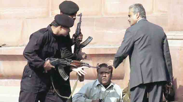 Black Cat commandoes along with Delhi Police personnel during the Parliament House attack.