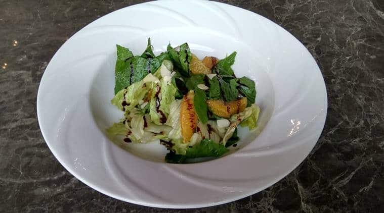 salad, spinach salad, fruit salad, grilled watermelon, feta cheese, grapes and mango salad