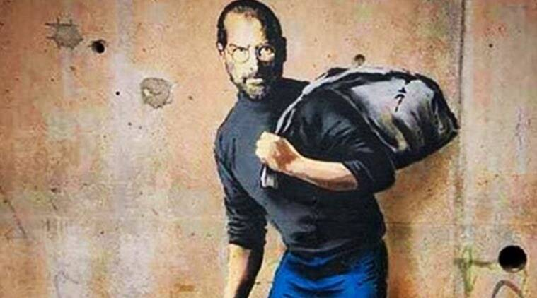 street artist banksy, steve jobs street art in london, street artist exhibition in london gallery, banksy exhibition in london gallery, london hang up gallery street art exhibition, indian express, indian express news