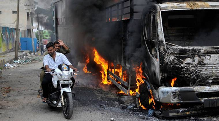 cauvery water dispute, cauvery protests, cauver water row, bengaluru violence, bengaluru curfew, hyderabad police, hyderabad, hyderabad cable, cauvery water row update, india news, indian express,
