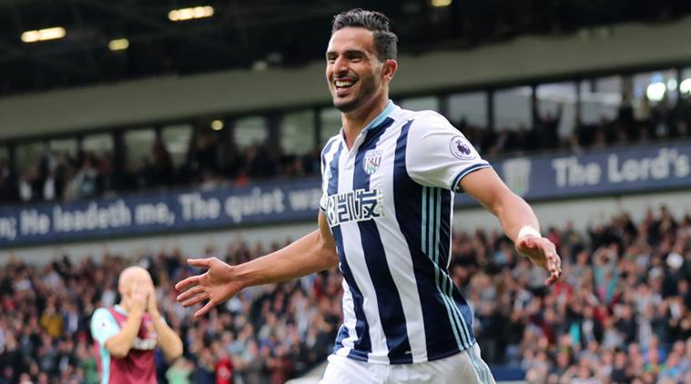 West Bromwich Albion's Nacer Chadli celebrates after scoring the fourth goal for West Brom against Hammers. Reuters/Eddie Keogh Livepic