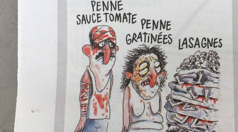 charlie hebdo, charlie hebdo cartoon, charlie hebdo earthquake cartoon, charlie hebdo italy, charlie hebdo magazine, italy earthquake, amatrice earthquake, world news