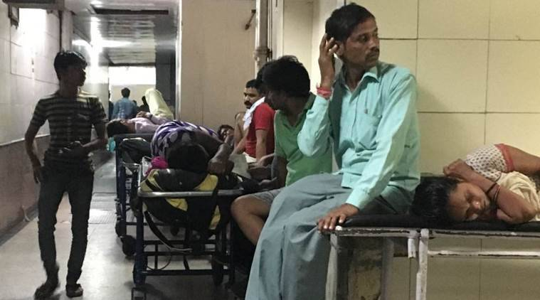 The state of patients and the fevers clinics at the AIIMS hospital ini, New Delhi late friday night. Express Photo by Neeraj Priyadarshi New Delhi 160916