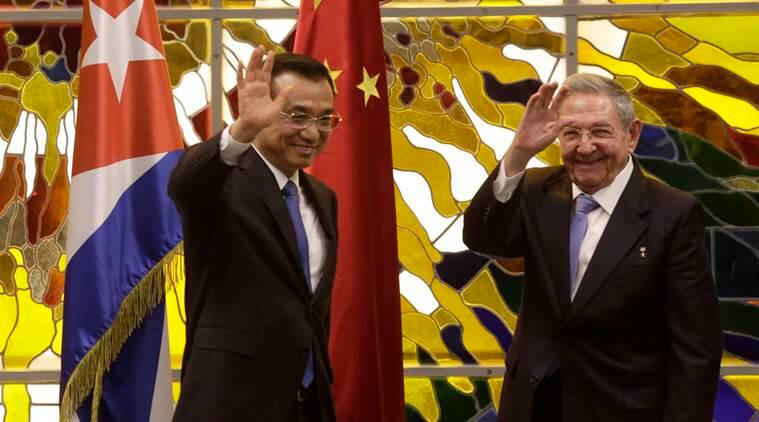 chinese prime minister li keqiang, cuban president raul castro, li keqiang meets raul castro havana, havana chinese pm meets cuban president, cuba china economy cooperation, cuba-china relations, world news, indian express