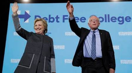 Hillary Clinton shares stage with Bernie Sanders in appeal for youth votes