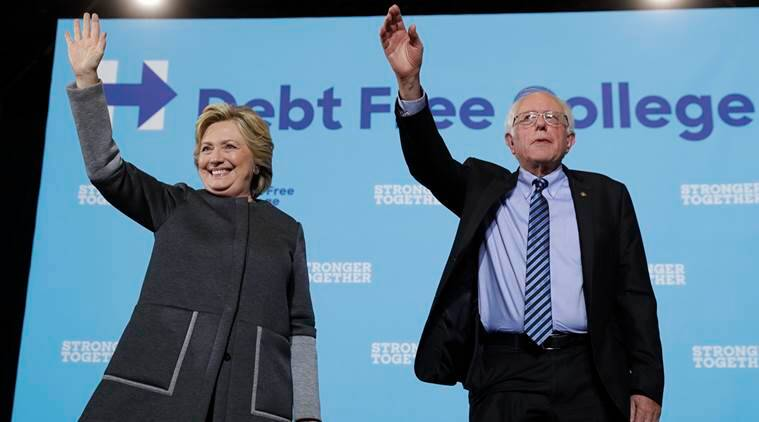 Bernie sanders, sanders, Hillary Clinton, Clinton banks and big business, clinton global business, clinton wall street, US presidential candidate, democratic presidential candidate, US election news, world news, indian express