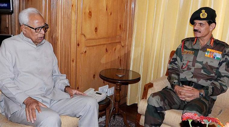 Srinagar: Jammu and Kashmir governor N N Vohra during a meeting with Army Chief General Dalbir Singh Suhag in Srinagar on Friday. PTI Photo (PTI9_9_2016_000249B)