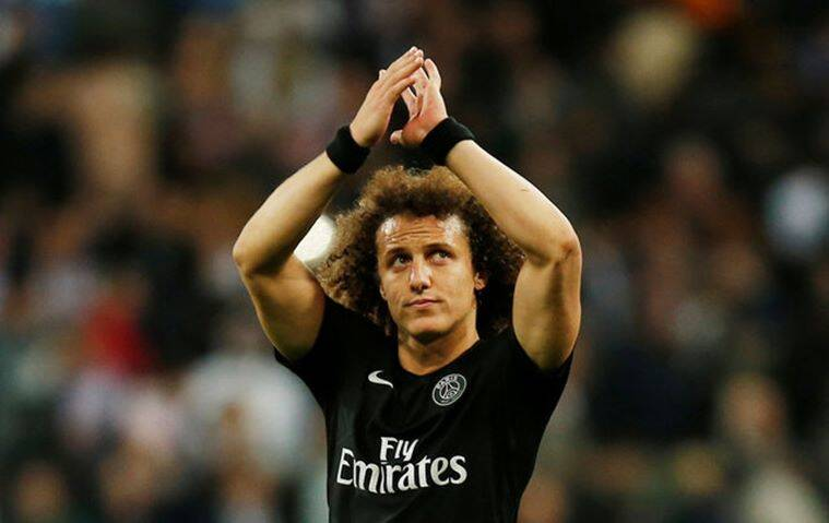 Football - Real Madrid v Paris St Germain - UEFA Champions League Group Stage - Group A - Santiago Bernabeu Stadium - 3/11/15. Paris St Germain's David Luiz applauds their fans after the game. REUTERS/Sergio Perez/Files Livepic EDITORIAL USE ONLY.
