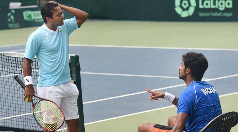 Leander Paes during a practice session