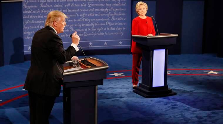 Republican presidential nominee Donald Trump gestures during the presidential debate with Democratic presidential nominee Hillary Clinton at Hofstra University in Hempstead, N.Y., Monday, Sept. 26, 2016. (Rick T. Wilking/Pool via AP)