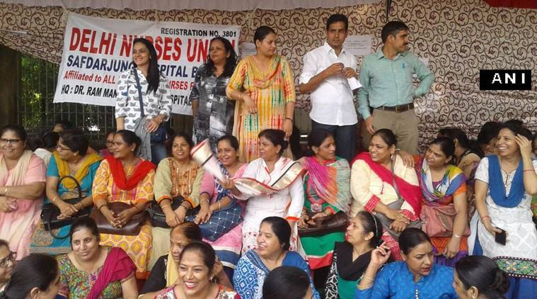nurse strike, strike against 7th pay commission, nurses arrested in delhi, strike in delhi, nurses strike in delhi, 7th pay commission, india news,