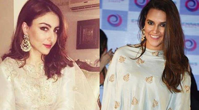 Soha Ali Khan (L) and Neha Dhupia were spotted in Payal Singhal. (Source: Instagram)
