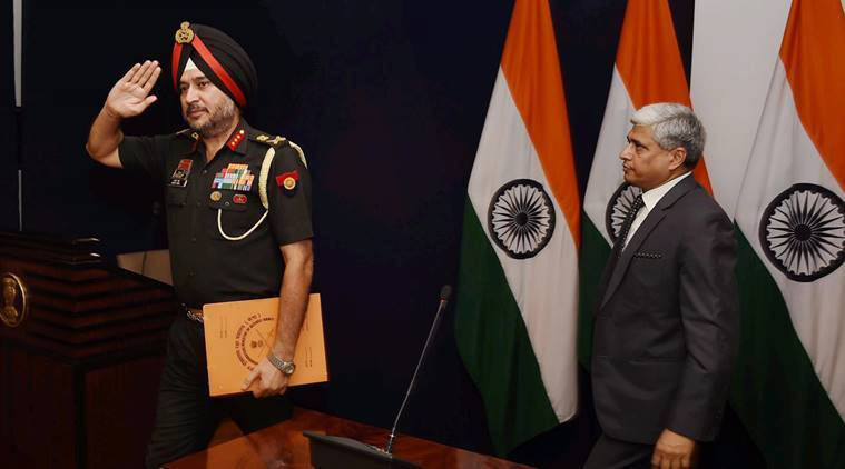 New Delhi: Director General Military Operations (DGMO), Ranbir Singh salutes after a Press Conferences along  with External Affairs Spokesperson Vikas Swarup,  in New Delhi on Thursday. India conducted Surgical strikes across the Line of Control in Kashmir on Wednesday night. PTI Photo by Shirish Shete (PTI9_29_2016_000026A)