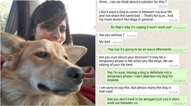 woman turns down marriage proposal, woman turns down marriage for dog, woman's love for her dog tuns down marriage, bengaluru woman turns down marriage for dog, love for dogs, man's best friend,. dog stories, indian express, indian express news