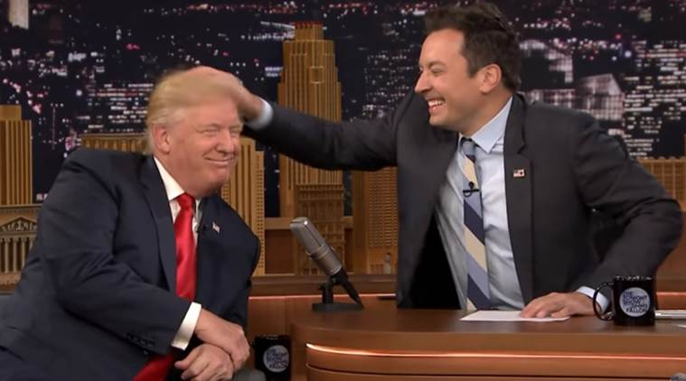 donald trump, donald trump jimmy fallon, donald trump hair, trump and fallon, fallon messes trump's hair, world news, trending news