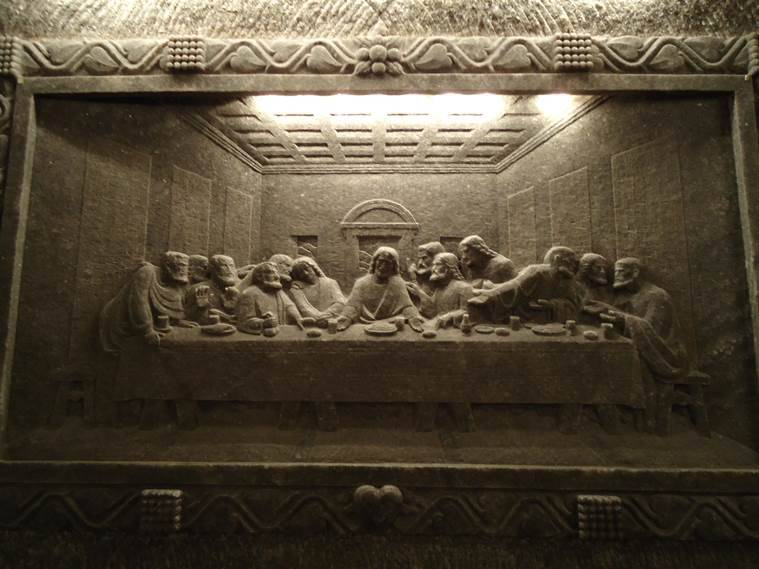 Polish cheese; a rock-salt replica of The Last Supper by Antoni Wyrodek