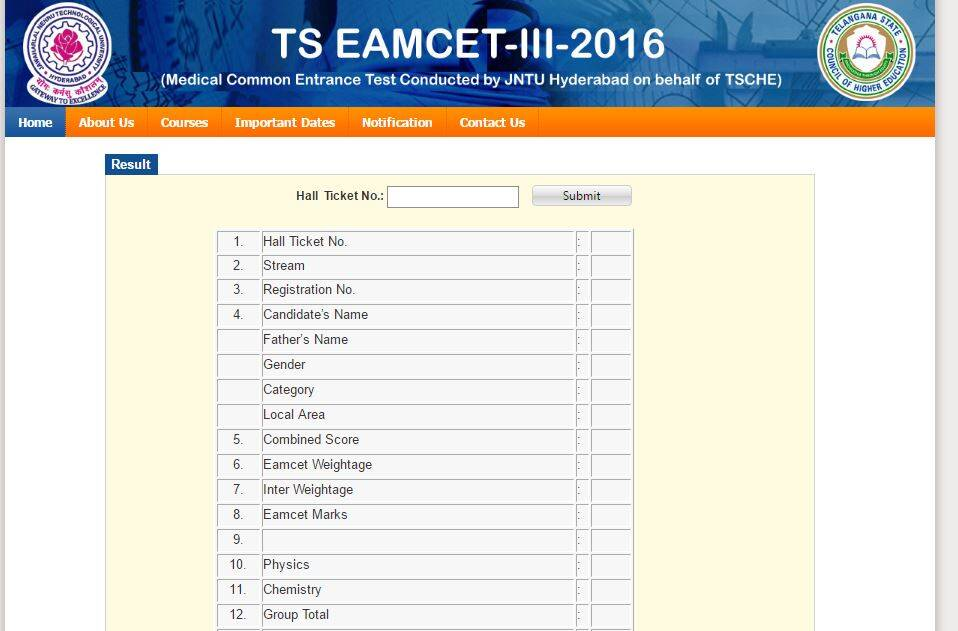 TS EAMCET 3 Results 2016 declared, Check Score Card and Rank